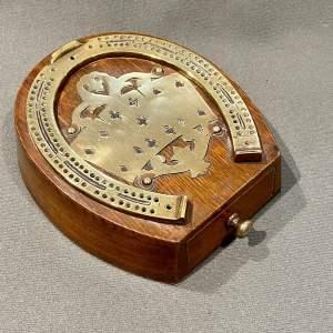 19th Century English Horseshoe Brass and Oak Cribbage Board