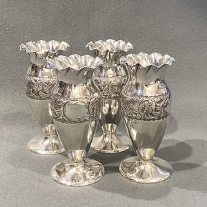 Set of Four Small Early 20th Century English Silver Vases