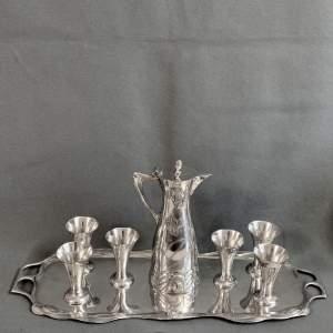 Art Nouveau Jugendstil Pewter Liqueur Set