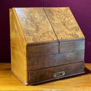 19th Century Burr Walnut Writing Cabinet