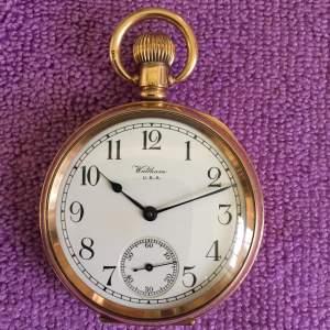 Gold Plated Waltham Pocket Watch Traveller Model Circa 1933